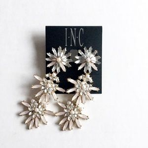 INC Gold-tone Stone & Crystal Flower Earrings